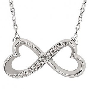 0.03ct. Diamond 925K Silver Infinity Necklace