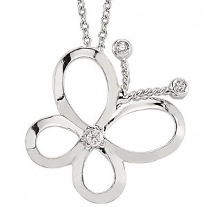 0.05ct. Diamond 925K Silver Butterfly Necklace