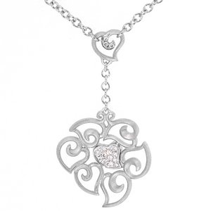 0.1ct. Diamond 925K Silver Heart Necklace