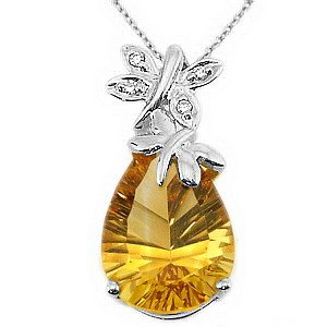 0.02ct. Diamond 925K Silver Butterfly Citrine Necklace