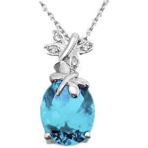 0.02ct. Diamond 925K Silver Butterfly Blue Topaz Necklace