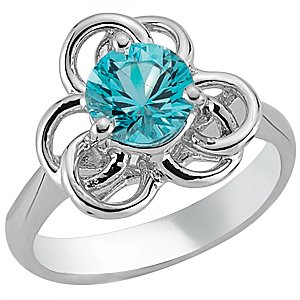 925K Silver Modern Design Blue Topaz Ring