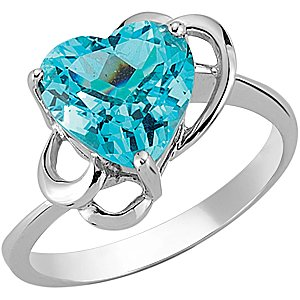 925K Silver Heart Blue Topaz Ring