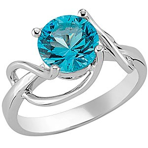 925K Silver Solitaire Blue Topaz Ring