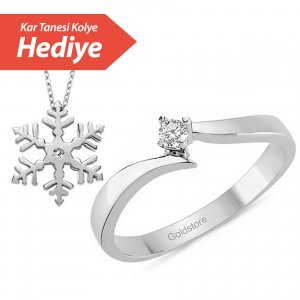 0.06ct. Diamond 925K Silver Solitaire S Type Ring