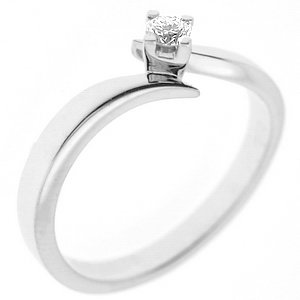 0.05ct. Diamond 925K Silver Solitaire Ring