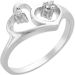 0.08ct. Diamond 925K Silver Modern Design Heart Ring