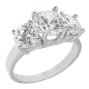 925K Silver 3 Stone Cubic Zirconia Ring