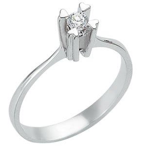 0.11ct. Diamond 925K Silver Solitaire Heart Ring