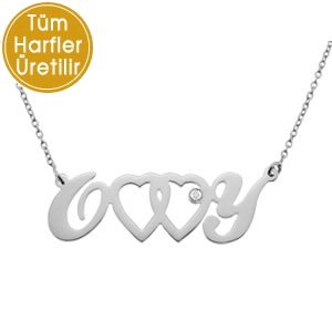 0.01ct. Diamond 925K Silver Initial Heart Double Letter Necklace