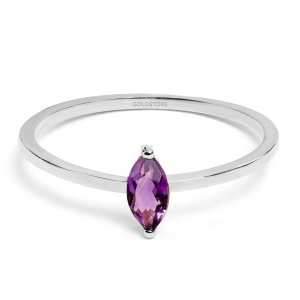 14K Solid Gold Solitaire Amethyst Ring