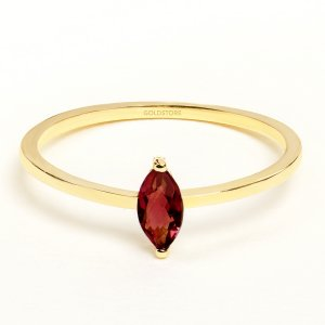 14K Solid Gold Solitaire Garnet Ring