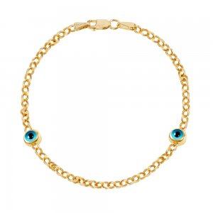 14K Solid Gold Evil Eye Bracelet