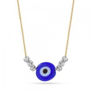 14K Solid Gold Evil Eye Ball Necklace