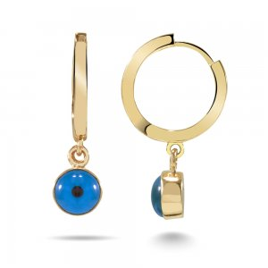 14K Solid Gold Evil Eye Earring