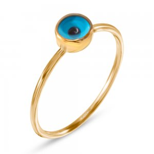 14K Solid Gold Evil Eye Ring