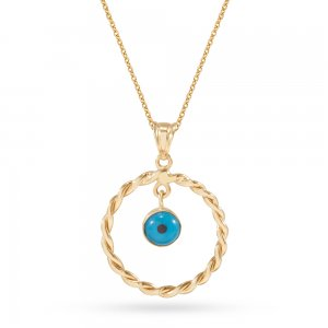 14K Solid Gold Ring Evil Eye Necklace