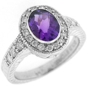 0.4ct. Diamond 18K Solid Gold Modern Design Amethyst Ring