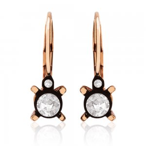 0.32ct. Diamond 8K Solid Gold Solitaire Classic Rose Cut Earring