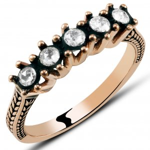 0.31ct. Diamond 8K Solid Gold 5 Stones Half Eternity Rose Cut Ring