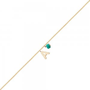 14K Solid Gold Initial Turquoise Bracelet