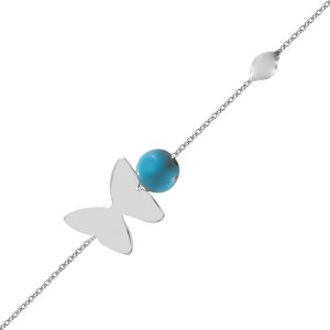 14K Solid Gold Butterfly Turquoise Bracelet