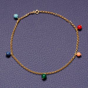 14K Solid Gold Drop Dangle Turquoise Anklet