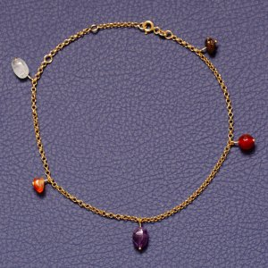 14K Solid Gold Drop Dangle Amethyst Anklet