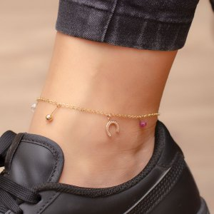 14K Solid Gold Horseshoe Ball Anklet