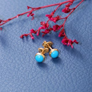 14K Solid Gold Turquoise Earring