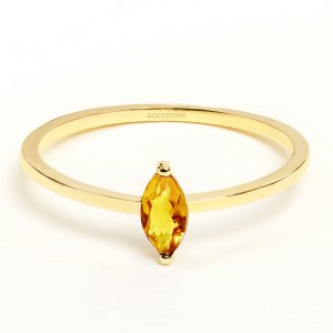 14K Solid Gold Solitaire Citrine Ring