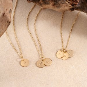 14K Solid Gold Minimal Personalized Initial Disk Necklace