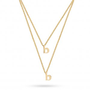 14K Solid Gold Initial Double Letter Necklace