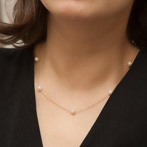 14K Solid Gold Pearl Beaded Necklace