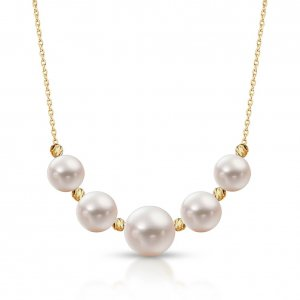 14K Solid Gold Modern Design Pearl Necklace