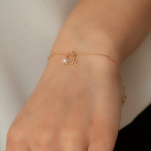14K Solid Gold Initial Pearl Bracelet