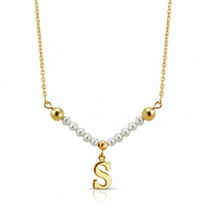14K Solid Gold Initial Pearl Necklace