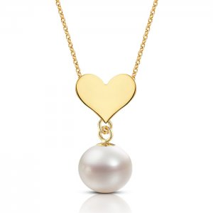 14K Solid Gold Heart Pearl Necklace