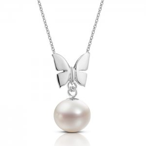 14K Solid Gold Butterfly Pearl Necklace