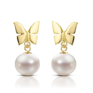 14K Solid Gold Butterfly Pearl Earring