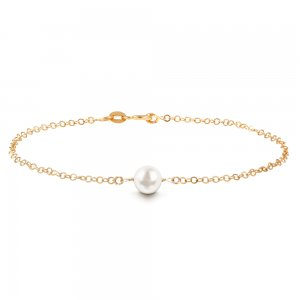 14K Solid Gold Classic Pearl Bracelet