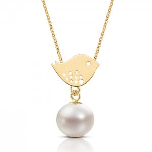 14K Solid Gold Bird Pearl Necklace