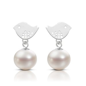14K Solid Gold Bird Pearl Earring