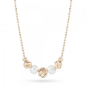 14K Solid Gold Ball Pearl Necklace