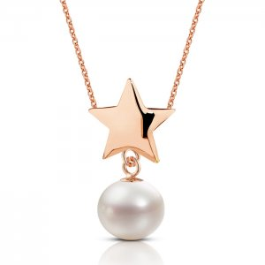 14K Solid Gold Star Pearl Necklace