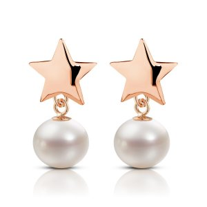 14K Solid Gold Star Pearl Earring