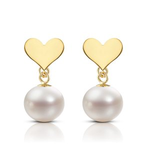 14K Solid Gold Heart Pearl Earring