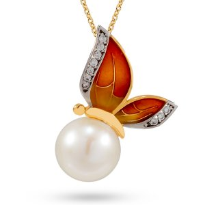 14K Solid Gold Enamel Butterfly Pearl Necklace