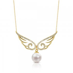 14K Solid Gold Pearl Necklace