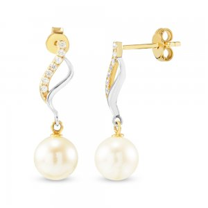 14K Solid Gold Drop Dangle Pearl Earring